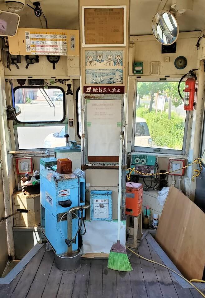 路面電車展示 西鉄北九州線 148号の車内の景色-