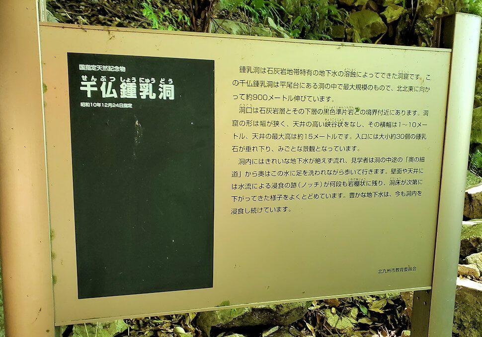 千仏鍾乳洞の説明が書かれている看板
