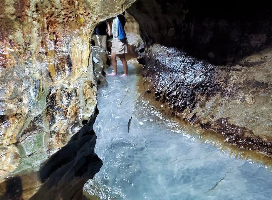 千仏鍾乳洞内を流れる地下水
