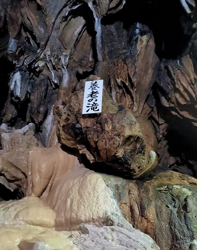 千仏鍾乳洞内の帰り道を引き返し「養老の滝」を発見