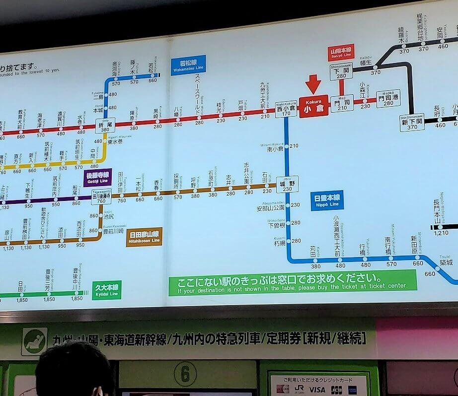 小倉駅の料金路線図