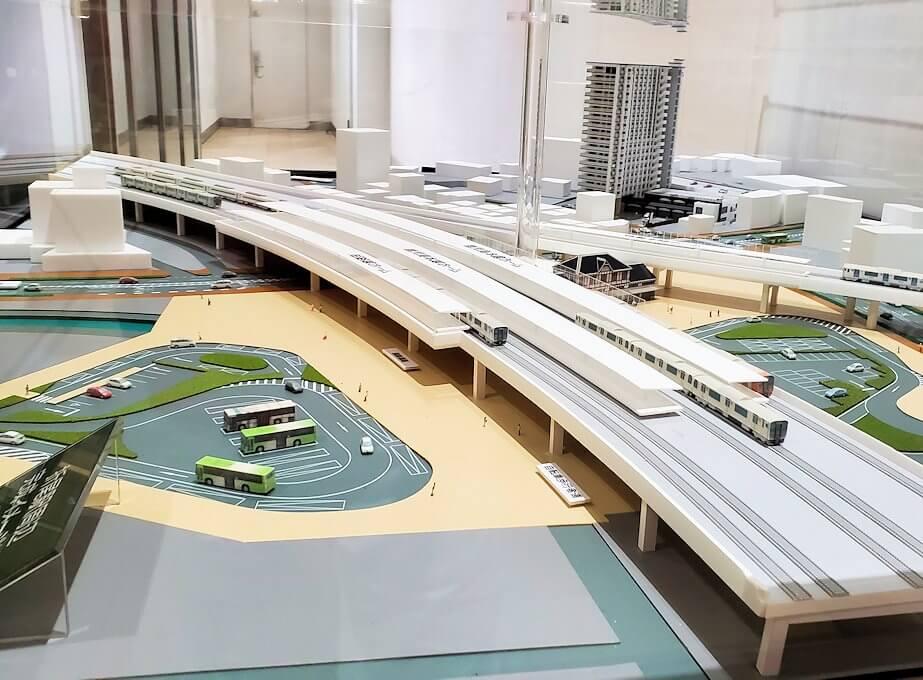北九州市「若松駅」から電車に乗り、途中で乗り換えた駅の模型