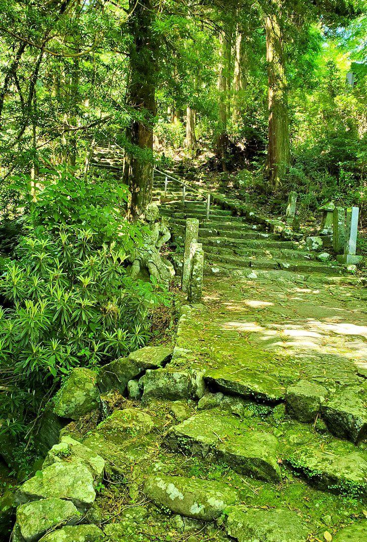 両子寺境内を奥へと進むと見えてきた1枚岩の鬼橋を渡ります