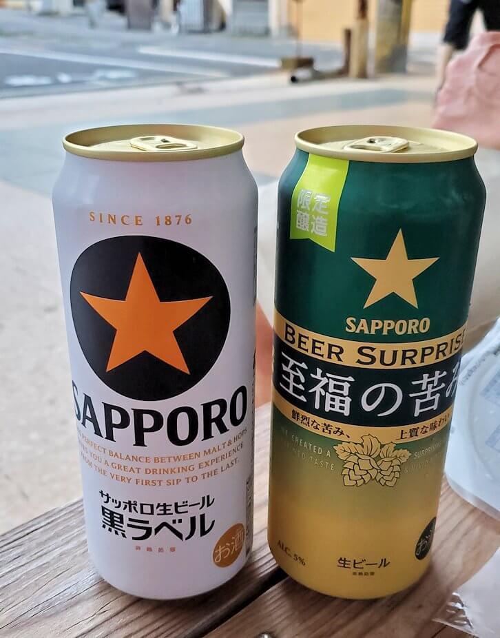 別府温泉街でまずはコンビニでビール
