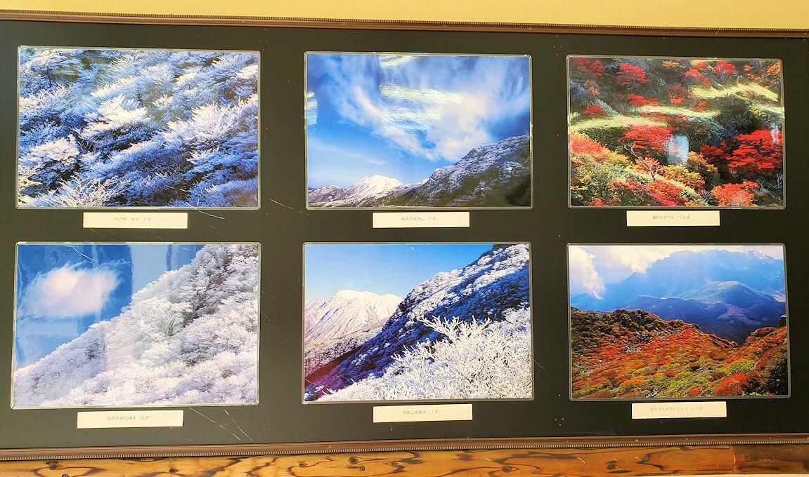 長者原の休憩所にあった、九重連山の写真