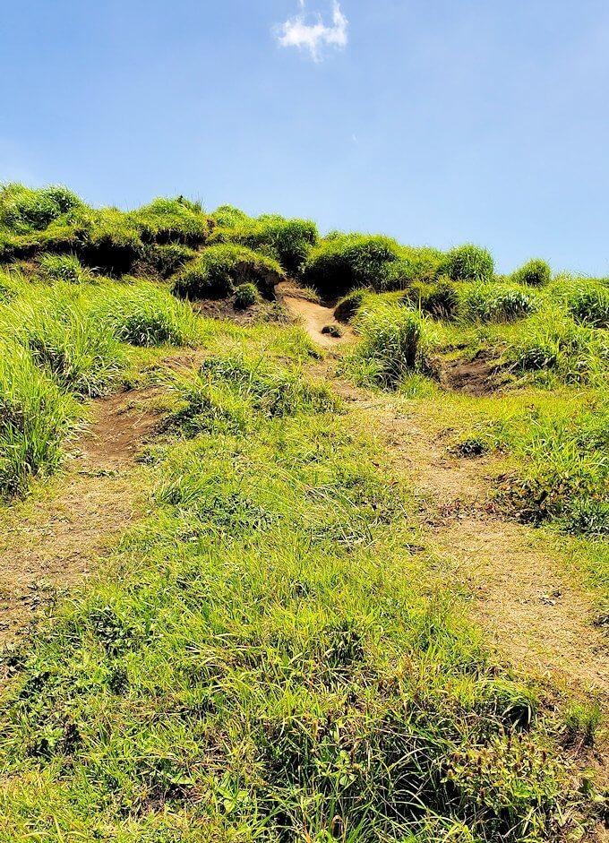 阿蘇の草千里ヶ浜の丘を登っていく