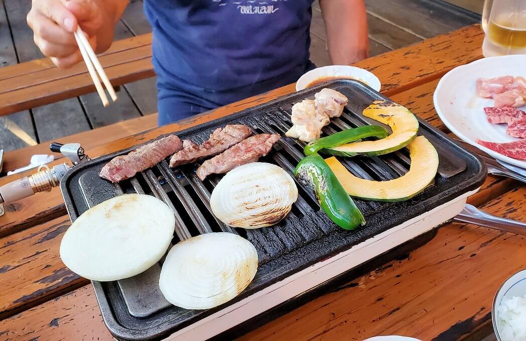 阿蘇鶴温泉ロッジ村で夕食にバーベキューをする-1