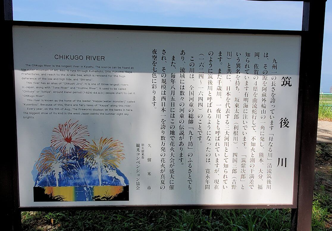 久留米駅周辺の水天宮の案内板