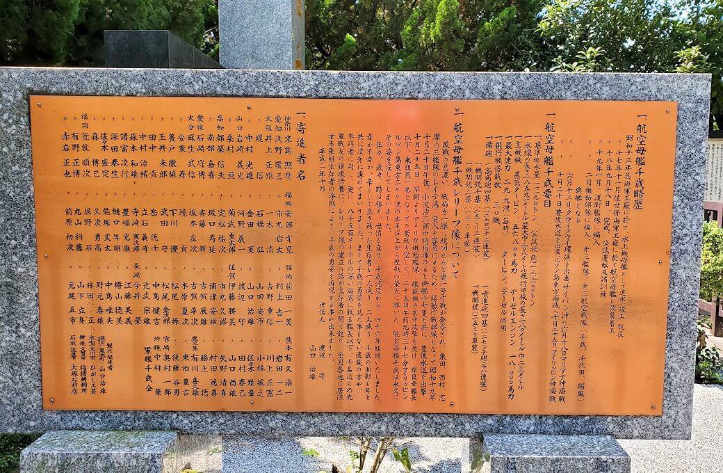 久留米駅周辺の水天宮にあった戦艦千歳の記念碑の説明
