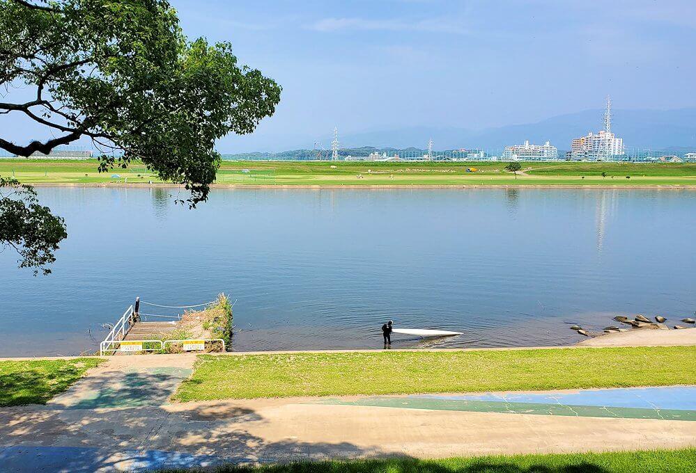 久留米駅周辺の水天宮から筑後川を眺めた景色