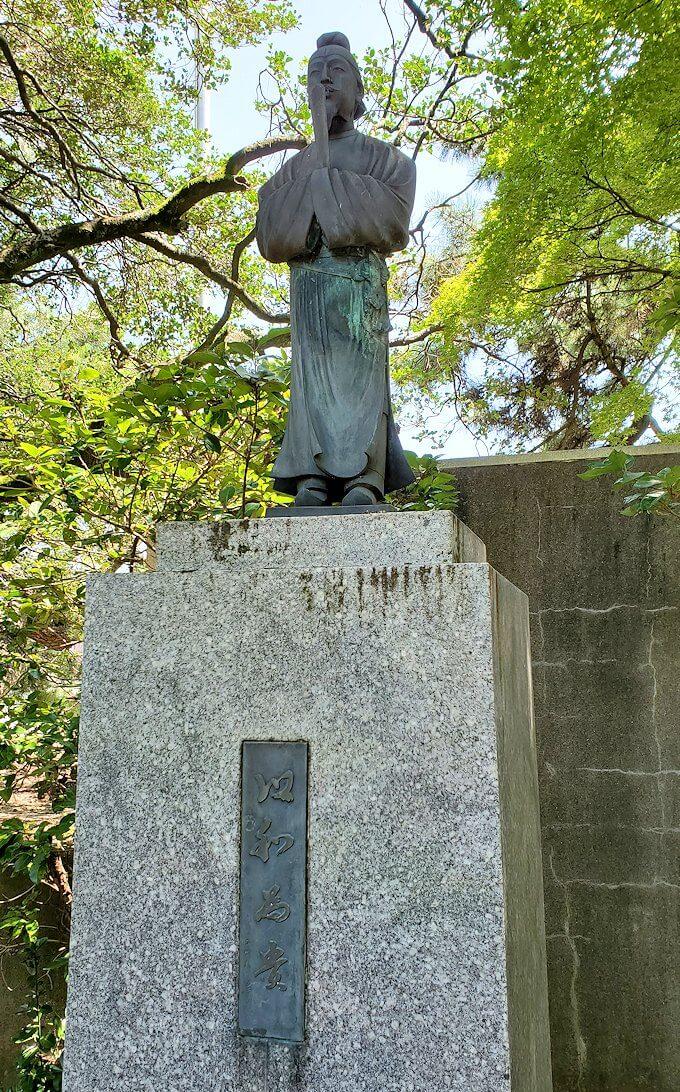 久留米城跡敷地内に飾られていた聖徳太子の銅像
