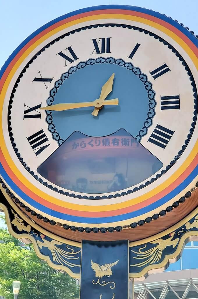 久留米駅前にある、大きなカラクリ時計のアップ