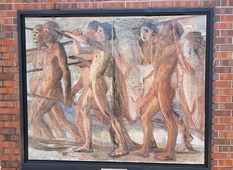 久留米駅前にある、青木繫の絵画