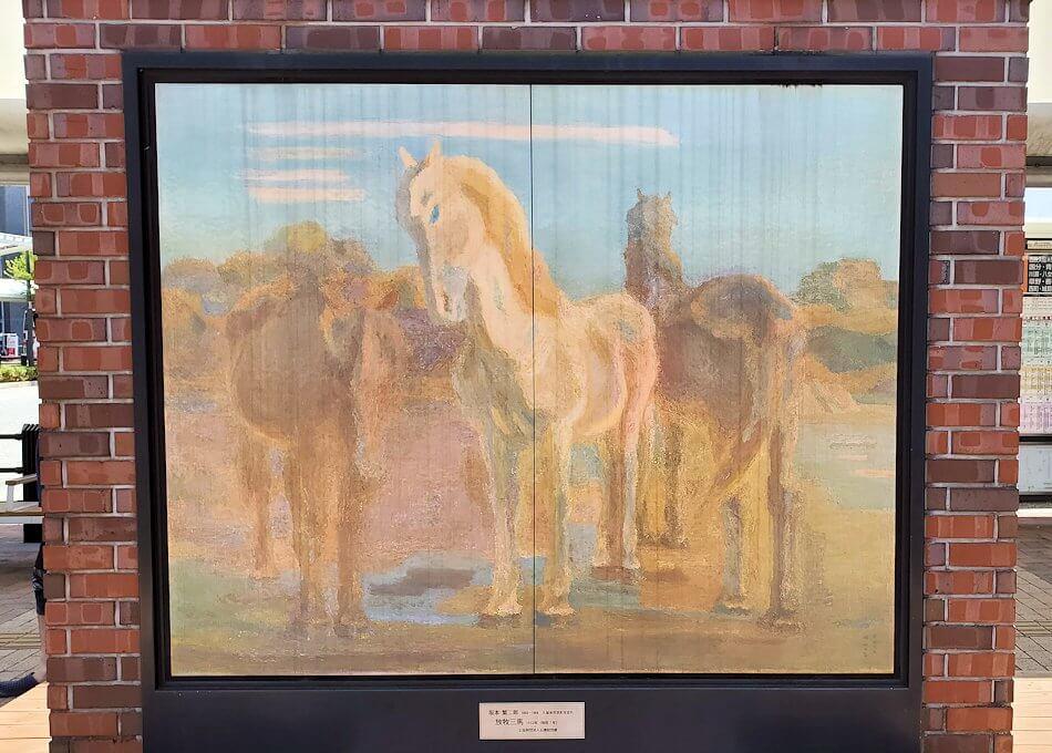 久留米駅前にある、坂本繫二郎の絵画