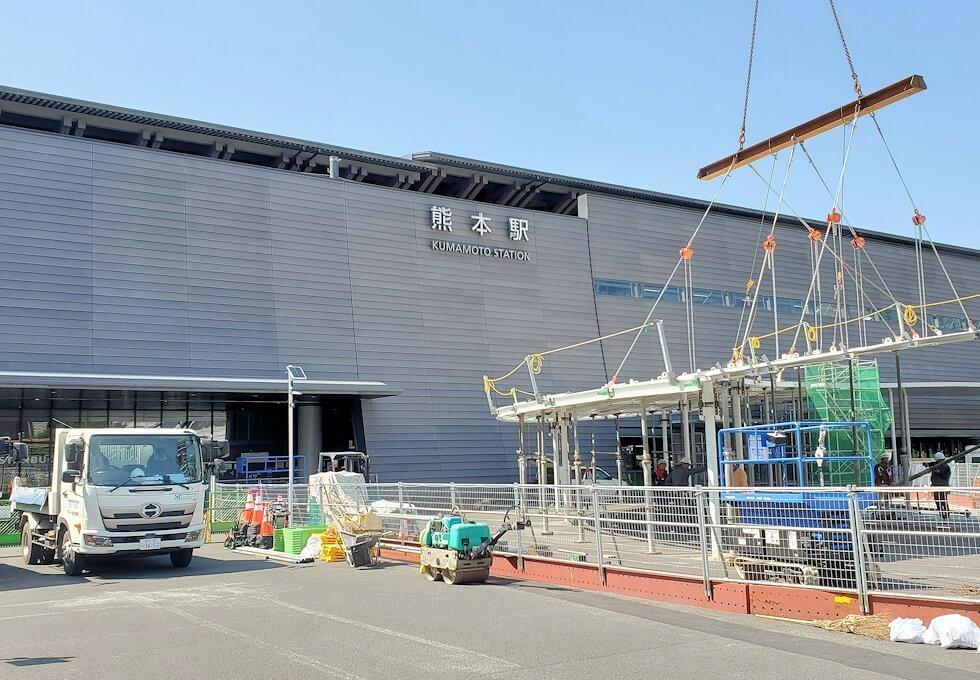 工事中の熊本駅前広場の景色-1