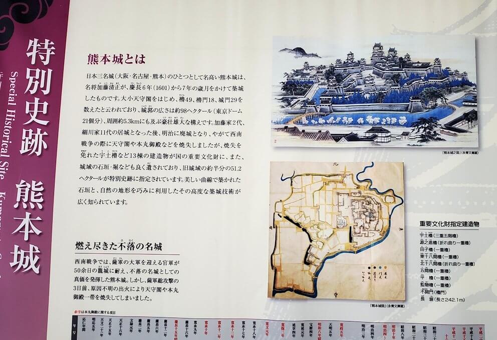 熊本城:二ノ丸公園近くの売店にあった資料を見学