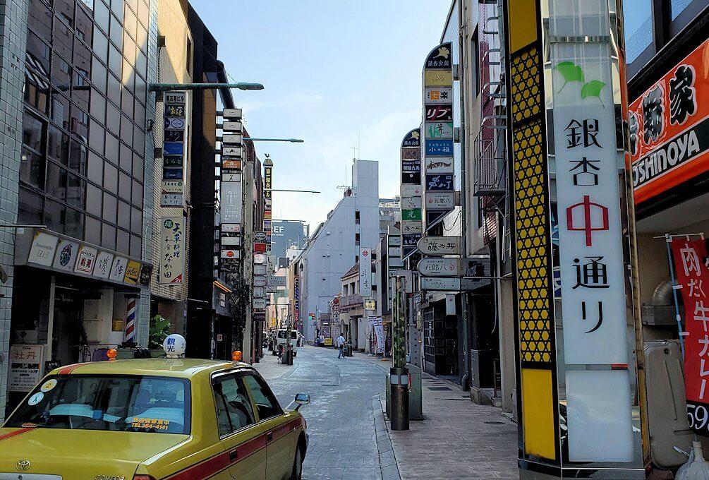 熊本市内の繁華街である銀座通り周辺の横道