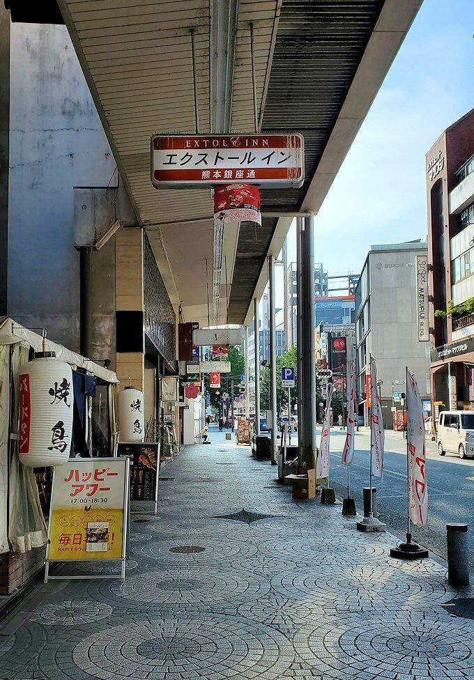 熊本市内の繁華街である銀座通り通りにあるホテル