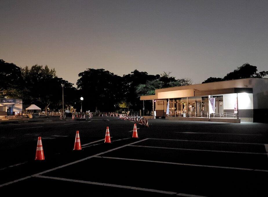 夜に熊本城で二ノ丸公園に到着