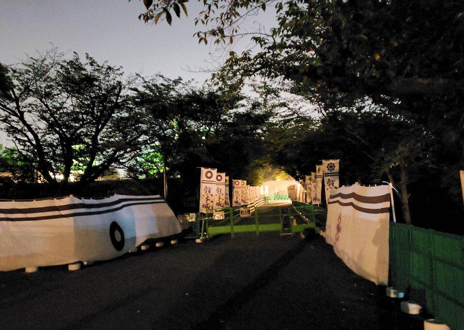 夜に熊本城で二ノ丸公園に到着-1