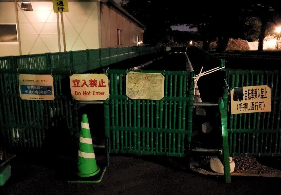 夜も熊本城の本丸近くへは入れない