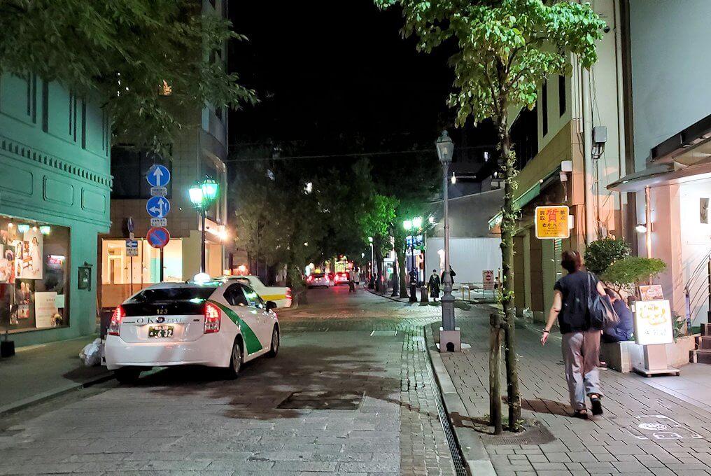 夜の熊本市内繁華街を歩く
