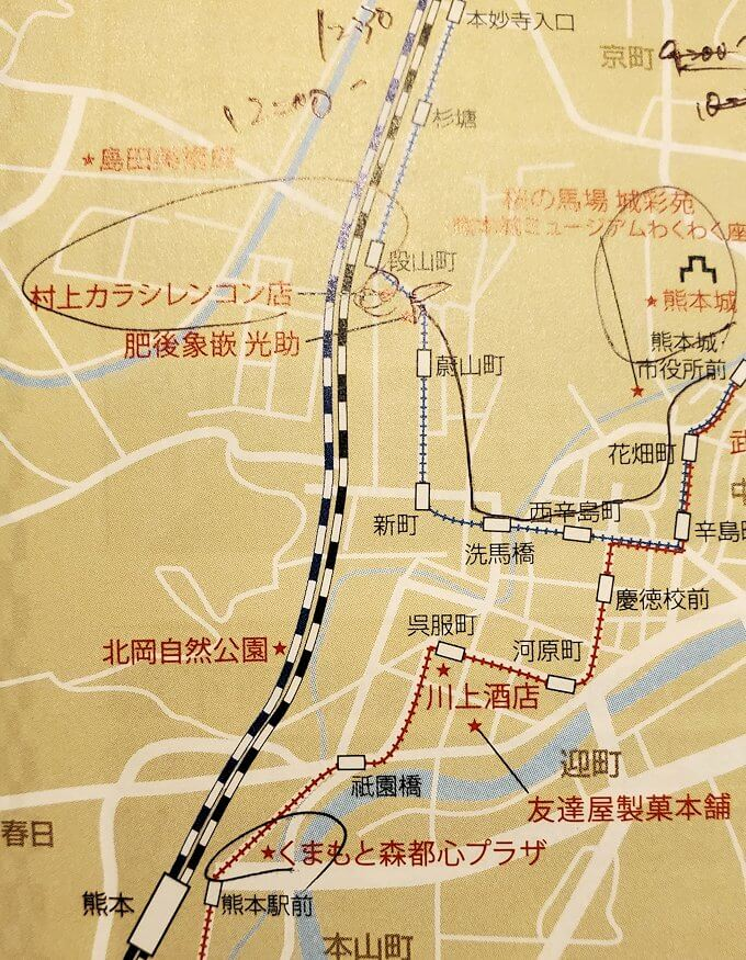 上熊本駅近くにある村上蓮根店の地図