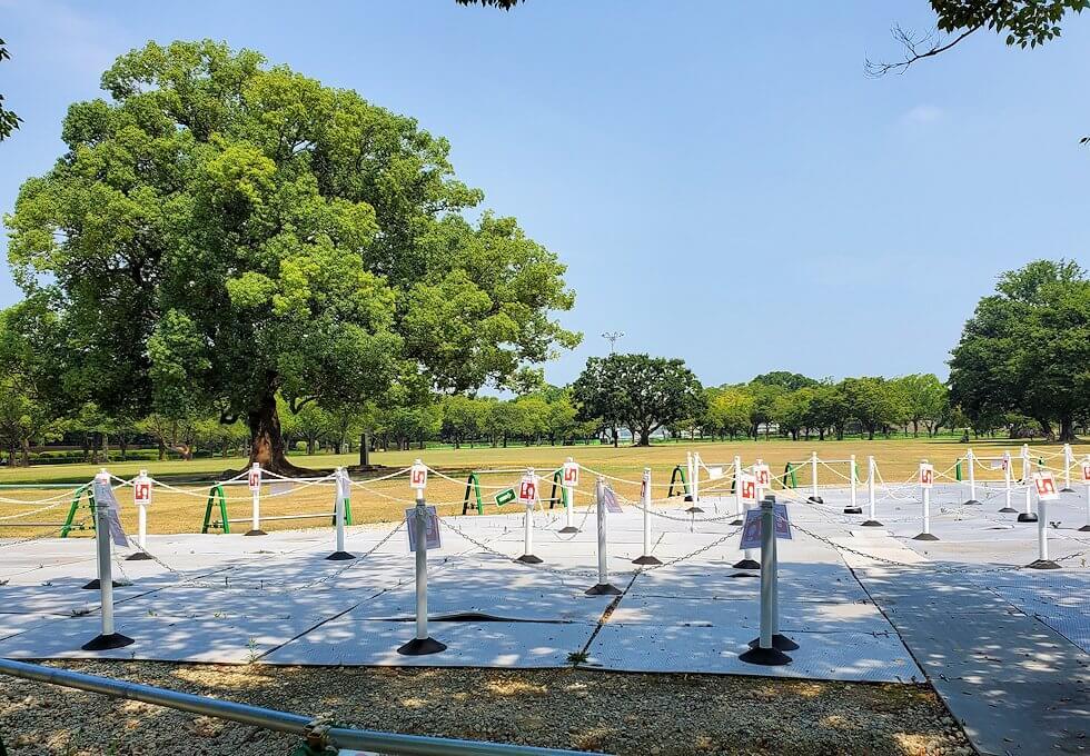 熊本城の二ノ丸公園の景色