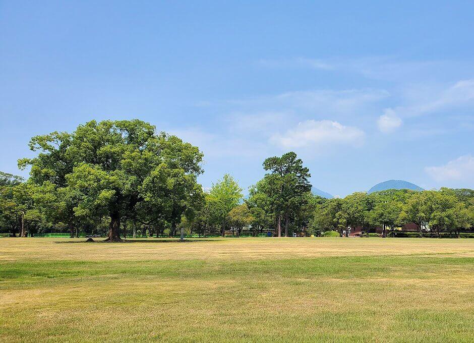 熊本城の二ノ丸公園を北に進んで見える景色