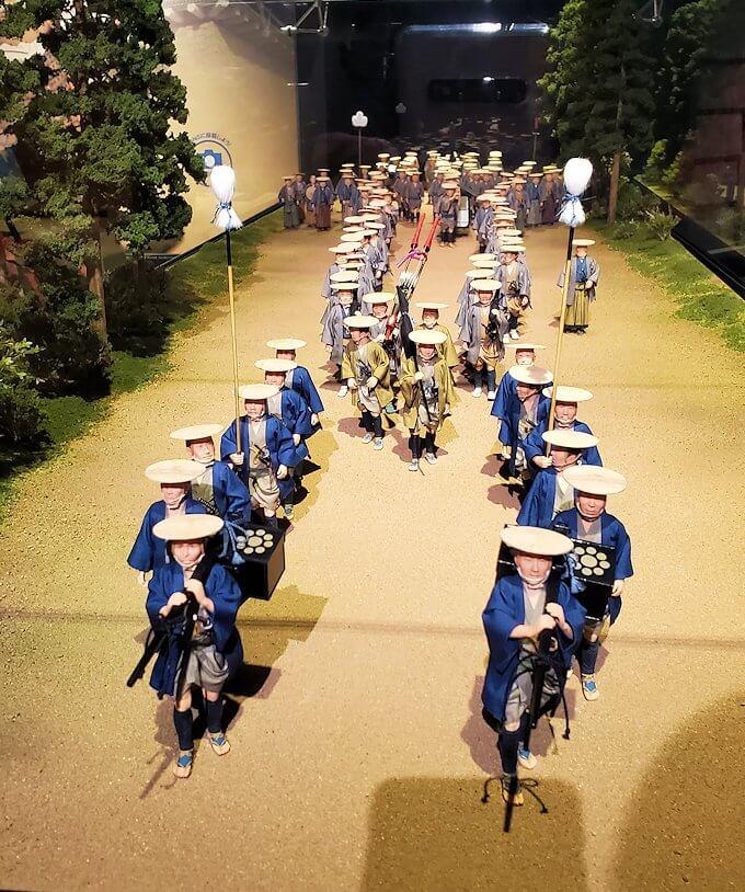 熊本城敷地のわくわく座内に置かれていた、参勤交代の行列の模型