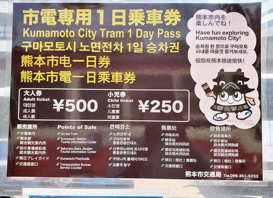 熊本市電の1日乗車券の看板