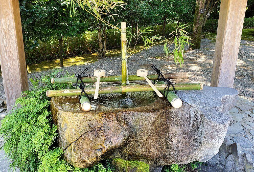 水前寺成趣園内の石橋から庭園にある手水