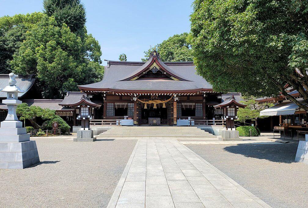 水前寺成趣園内の石橋から庭園にある出水神社
