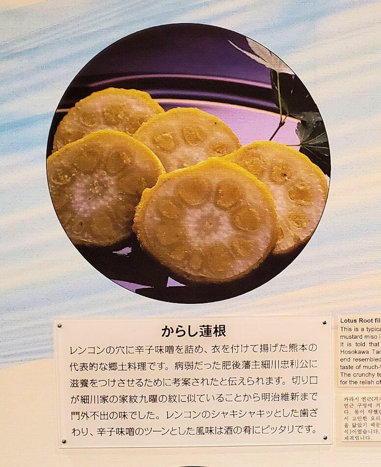 「くまもと森都心プラザ」にある郷土情報センターにあった熊本県の辛子蓮根のパネル