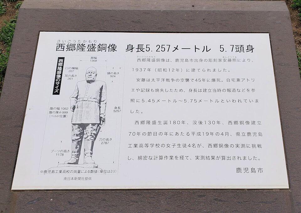 鹿児島市内にある、西郷隆盛像の説明