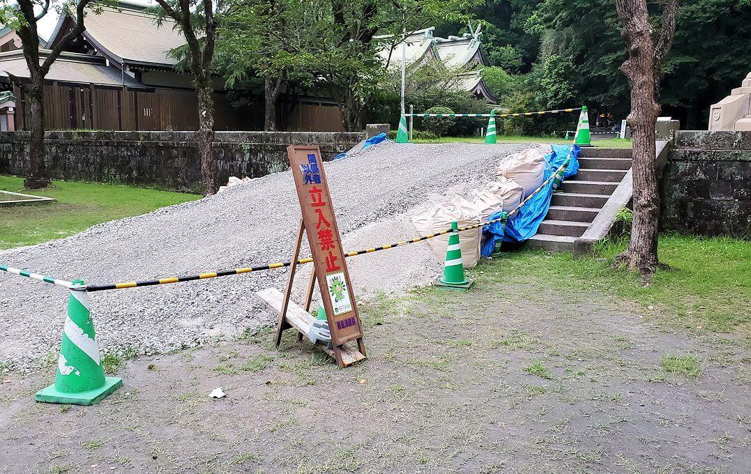 鹿児島市内の照国神社内にある島津斉彬公の銅像の手前が工事中