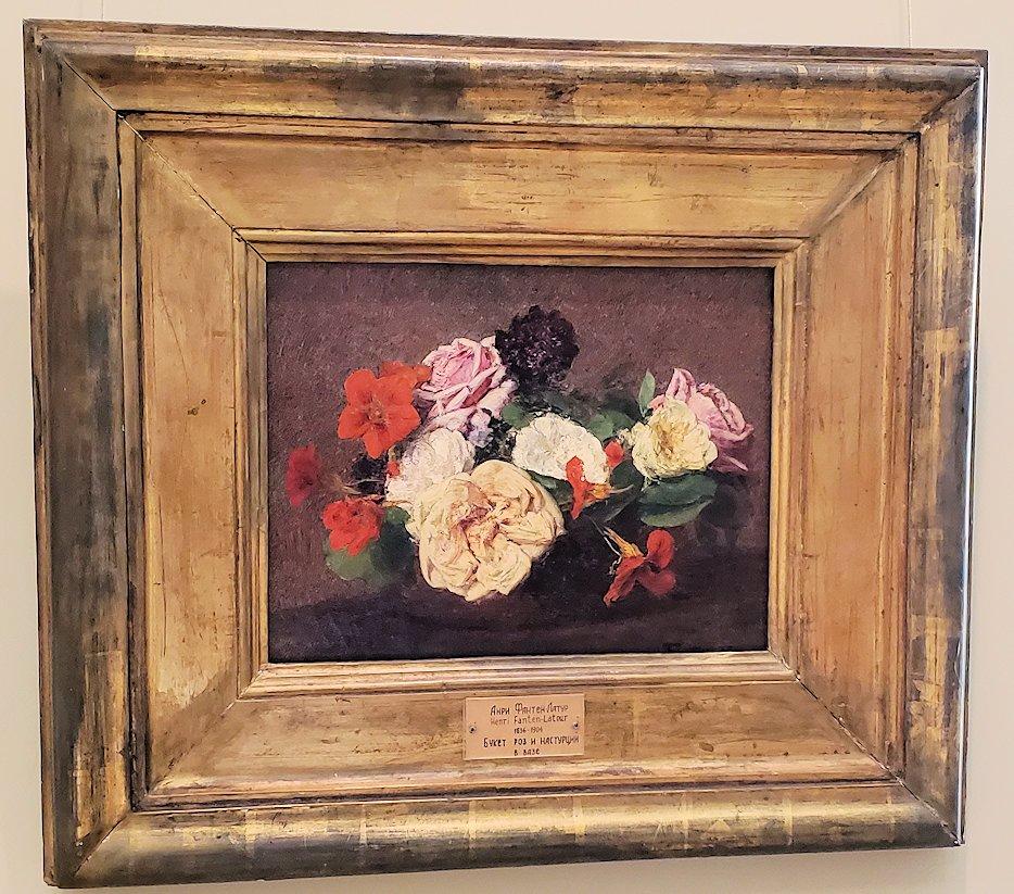 『薔薇とキンレンカの花瓶』 (Roses and Nasturtiums in a Vase) by アンリ・ファンタン=ラトゥール
