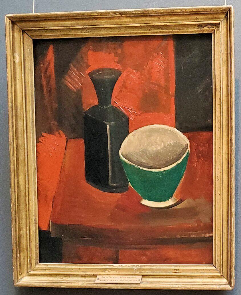 『グリーンのフライパンと黒いボトル』 (Green Pan and Black Bottle) by パブロ・ピカソ