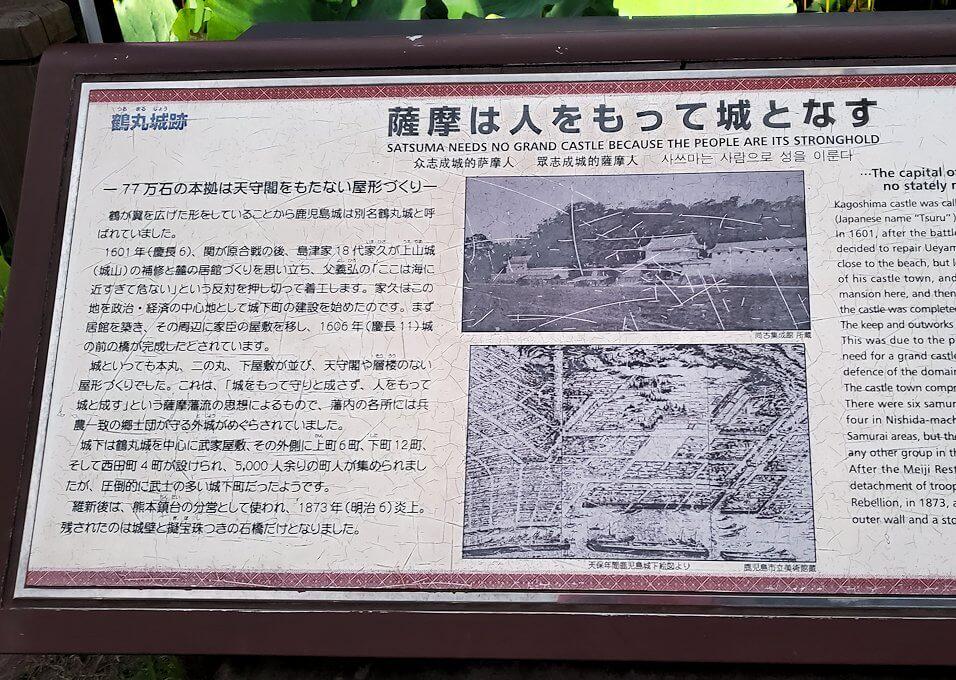 鶴丸城前にあった看板