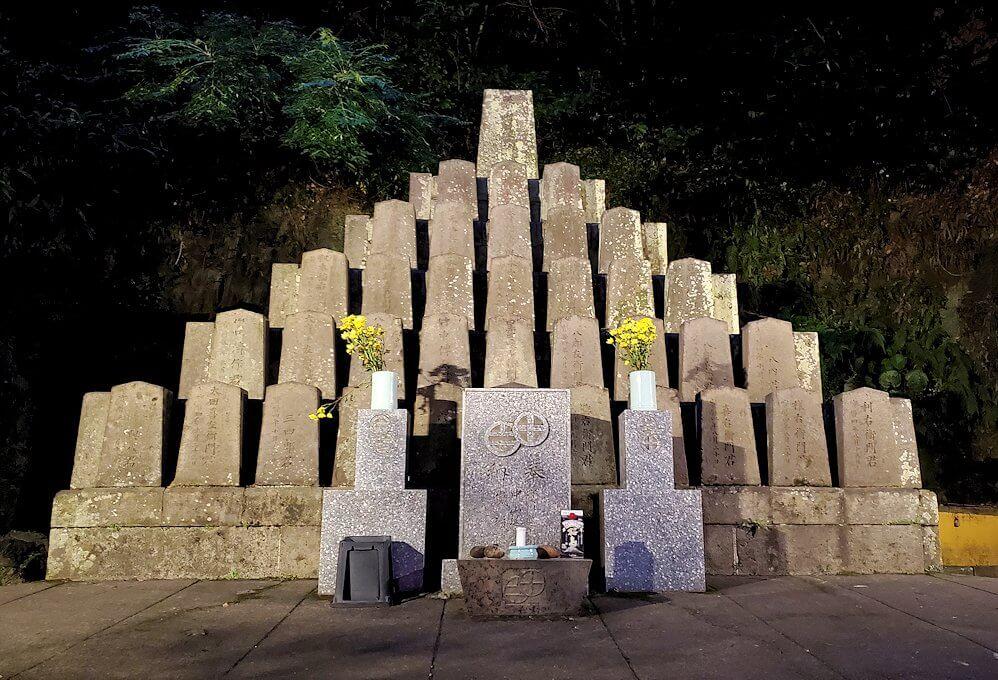 鶴丸城跡地東側にあった「薩摩義士碑」の景色