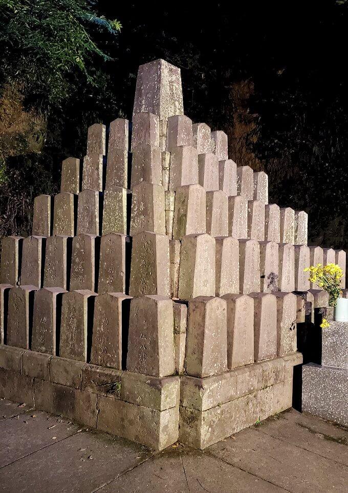 鶴丸城跡地東側にあった「薩摩義士碑」に近寄って眺める