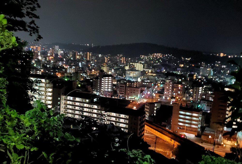 城山頂上から歩いて降りていくと見えた、城山ホテル近くから見える夜景