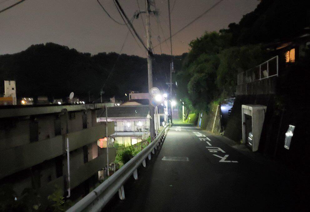 城山を下る道を進む-1