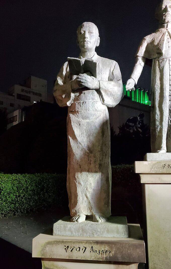 鹿児島市内のザビエル公園にある像のやじろう像