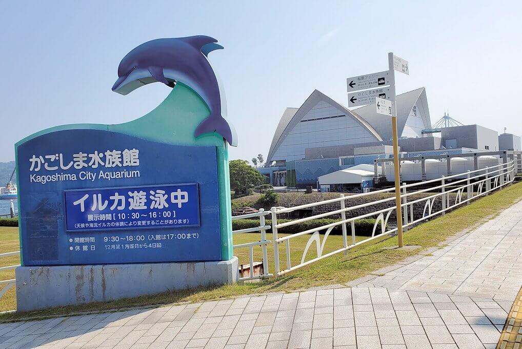 桜島フェリー乗り場近くにある公園にあった水族館