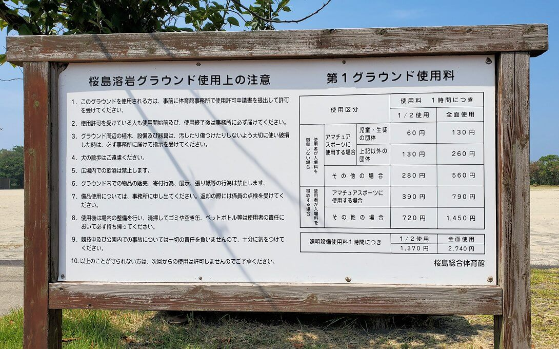 桜島ビジターセンターに向かって歩く途中にあった野球のグラウンドの案内