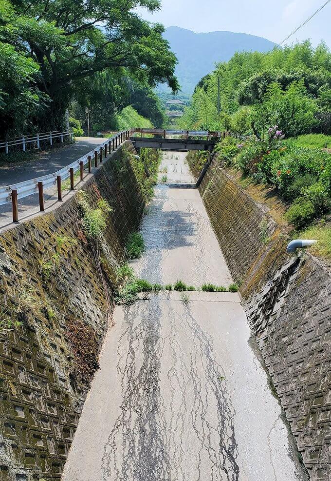 桜島にある溶岩渓流