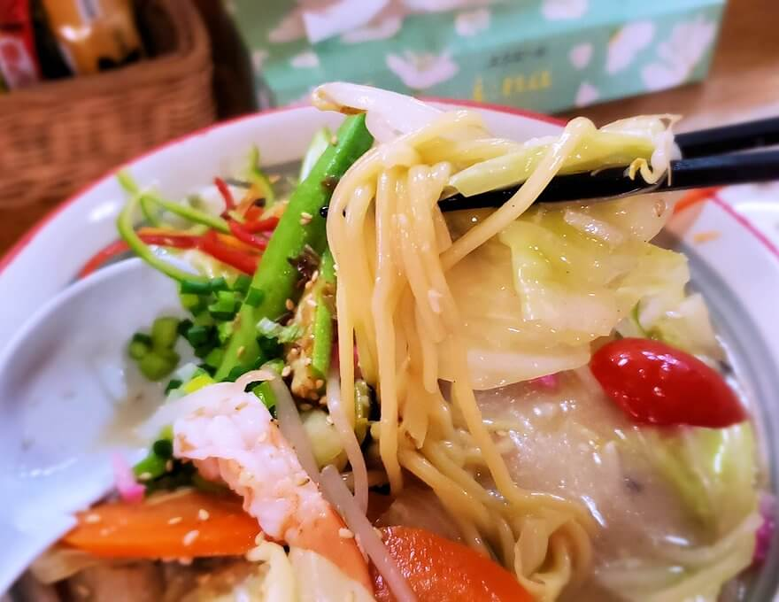 桜島黒神町にあった「椿の里」で出てきたチャンポンの麺