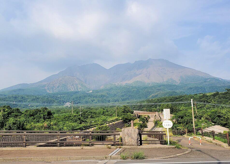 国道220号線沿いから桜島を眺める