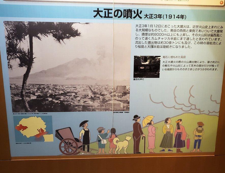 桜島ビジターセンターにある、大正大噴火の説明